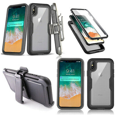 For iPhone X XS MAX XR 6 7 8 Plus 360 Shockproof Protective Belt Clip Case Cover