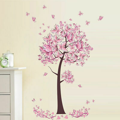 1pcs Pink Flower Butterfly Tree Wall Sticker Decal Girls Art Bedroom Accessories