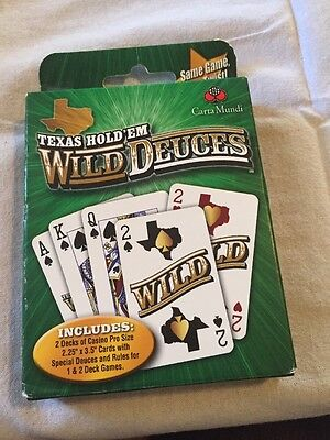 NIB TEXAS HOLD'EM Wild Deuces Playing Cards Game Set