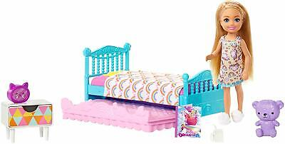 Barbie FXG83 Club Chelsea Playset Doll Bedroom Gift Toy Teddy Figure Bed Set New