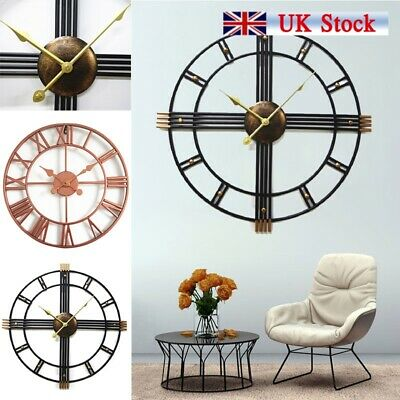 40/50cm Outdoor Garden Metal Large Skeleton Frame Roman Numeral Black Wall Clock