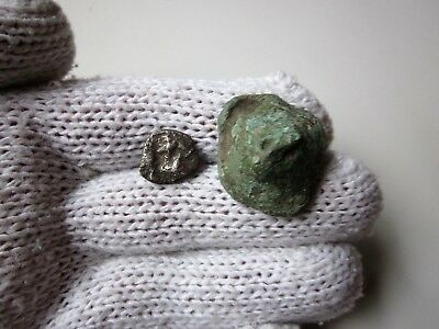 Very rare ancient lot of 2 - silver and bronze CELTIC - Roman PROTO MONEY