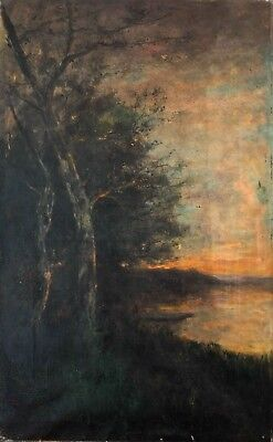 Original 19th century Oil Painting - Landscape at Sunset, Barbizon - French