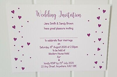 Personalised Confetti Heart Wedding/Evening Invitations L3