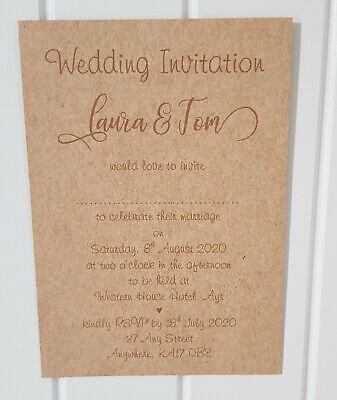 Personalised Rustic Brown Wedding/Evening Invitations L7