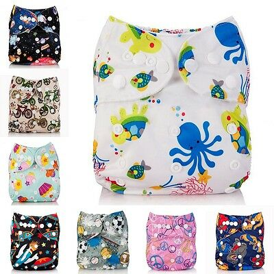Washable Baby Cloth Diaper Nappy Cover Cartoon Baby Reusable Diapers Nappies X1