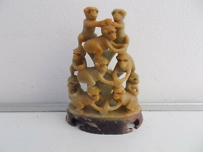 Vintage Chinese Soapstone 10 Monkey Pyramid Ornament
