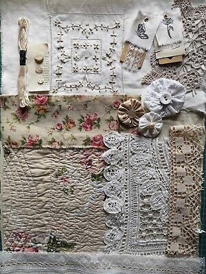 Slow Stitch Art Craft Sewing Vintage Fabric Quilt Lace Embroidery Inspiration 3
