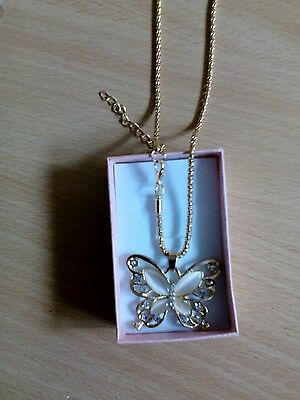 Vintage Women 's Opal Rose Gold butterfly Pendant Necklace Long Chain.