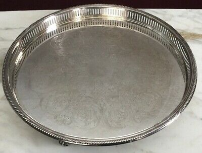 Silver Plate Bristol Silver Footed Gallery Tray By Poole