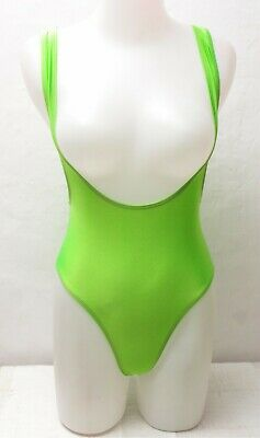 New Shiny Lime Green Suspender Leotard / Bodysuit for Women size Medium