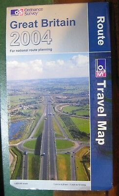 """2004 OS Ordnance Survey Route Travel Map Great Britain 1:625 000 or 1"""" to 10 mi"""
