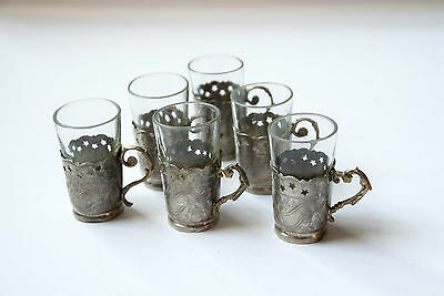 Antique set of 6 manually crafted silver shots holders with glass inserts 19th c