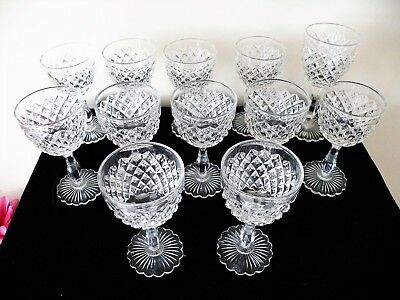 12 Good Antique Vintage Diamond Cut Wine Glasses