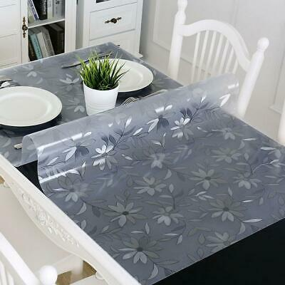 Transparent Floral Pattern PVC Waterproof Tablecloth Table Cover Mat C1MY