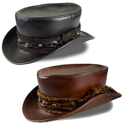 Leather Gravedigger Top Hat with Fabric Band  for Stage, Costume & Re-enactment
