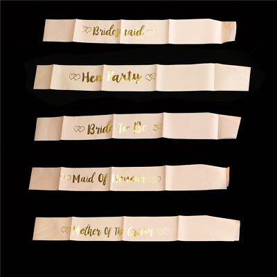 Rose Gold Bride To Be Satin Sash Girls Night Hen Night Out Party Sash Wedding LJ