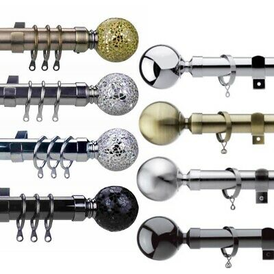 Metal Curtain Pole Extendable Poles Track, Silver, Chrome, Nickel, Brass Finials