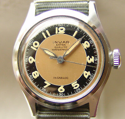 Men's WWII period extra INVAR WATCH Co good condition military style wristwatch