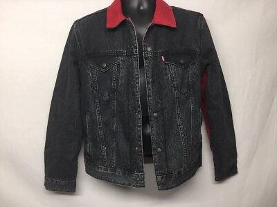 9691475f4c29d0 JORDAN LEVI S REVERSIBLE DENIM JACKET BLACK RED NIKE FLIGHT Size S Stu1