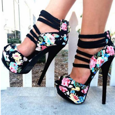 d101e48b33 2019 Womens Floral Pattern Peep Toe European Oxford Platform High Heel Shoes