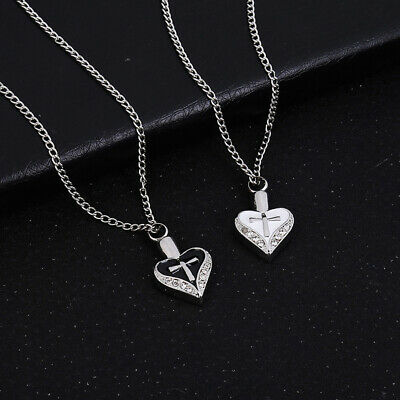 Heart Cross Rhinestone Memorial Urn Necklace Ashes Cremation Pendant Keepsake Su