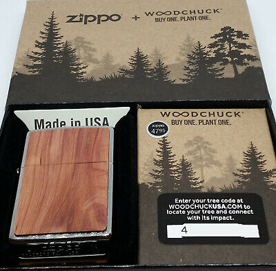 Zippo 29900 Woodchuck Cedar Brushed Chrome 2019 Release NEW Windproof Lighter