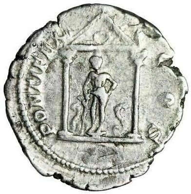 """Geta AR Denarius """"Asklepios in Temple, Two Serpents"""" Unpublished Extremely Rare"""