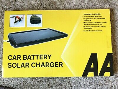 New Aa Solar Powered Car Battery Charger Black - Trickle Charge 12V Battery