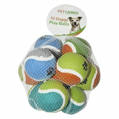 10pk Doggy Play Balls Assorted Colours Throw Fetch Chase Dog Toys