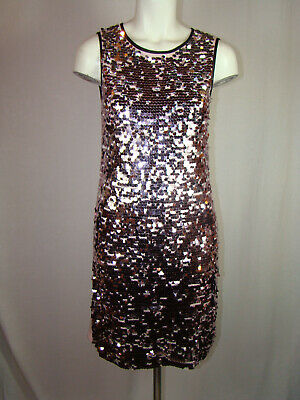 35f10213 GUESS BY MARCIANO SEQUINED DRESS Pink Silver Black Trim Sleeveless Girls 16  S