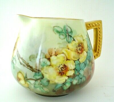 Vintage Hohenberg Ware Hand Painted Pitcher signed Welch 1920's Bavaria Floral