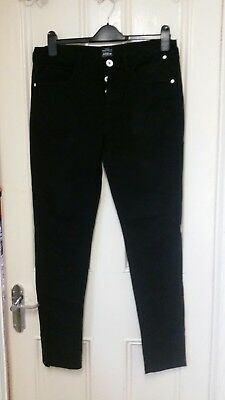 """Mens Boys Size 32""""R Skinny Fit Black Jeans With White Buttons Trousers"""