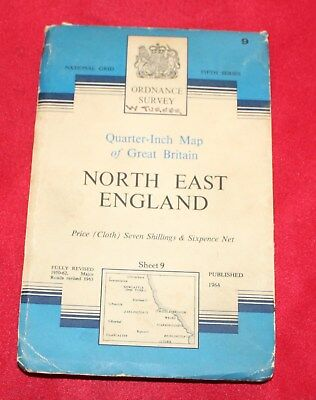 Ordnance Survey Quarter Inch Map Sheet 9 North East England 1964 (cloth)