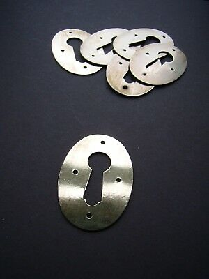 "Antique polished brass oval keyhole escutcheon 1 7/8"" x 1 1/4"" [PB15]"