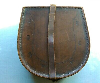 large horse shoe antique leather collar box plus collars mens grooming