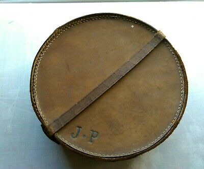 small antique leather collar box plus collars mens grooming JP initials