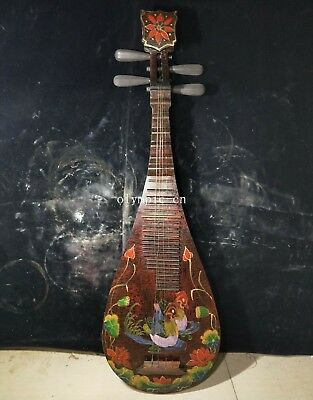 Old collection handcraft wood lacquerware Music instruments PIpa guitar