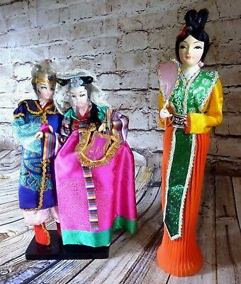 RARE Lot of 3 Asian Oriental Japanese Dolls Emperor Empress Geisha Madam Okasan