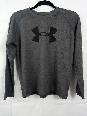 Under Armour Youth Boys Tshirt large Gray Loose Fit Heat Gear 100% Cotton