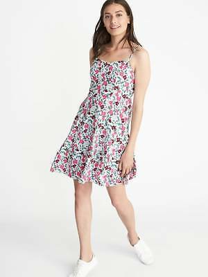 877eeb59572 WHITE OLD NAVY Print Fit   Flare Floral Spaghetti Straps Cami Dress ...