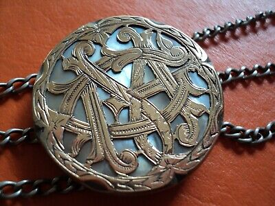 antique luxury belt buckle creole gaucho in gold and silver signed XIX c. signed