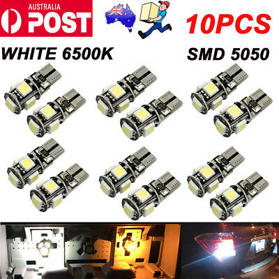 10X T10 Wedge 5SMD Parker Number Plate LED Bulbs W5W 194 168 131 WHITE AU