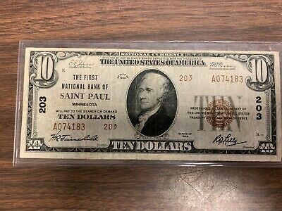1929 $10 The First National Bank Of Saint Paul, Mn National Currency 203