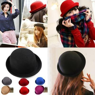 2853f70cc5b0a US Classic Women Bowler Hat Kids Girl Roll-up Brim Floppy Derby Hats Wool  WDS