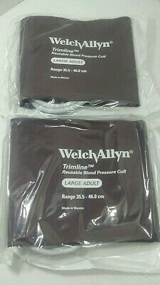 2 Welch Allyn Trimline Large Adult Reusable Blood Pressure Cuffs Ref# 901043