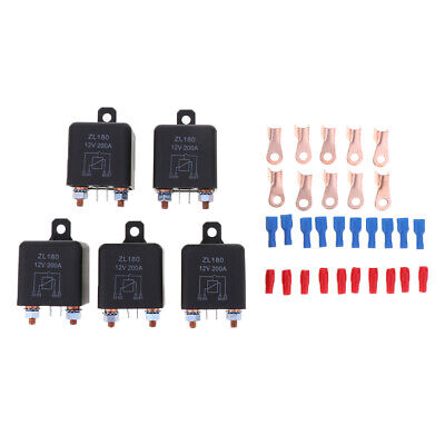 5x 200A 4-Pin Car Relay Switch RV Changeover Relay 12/24VDC Switch Starter