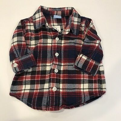 NWT Baby Boy Flannel Plaid Shirt 0 - 3 Months Children's Place Winter