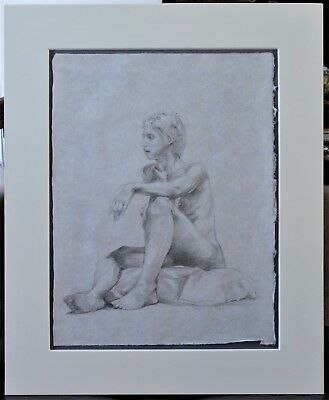 "Large Original Nude Pencil Drawing Signed ""Hendry"" - Circa 1995"