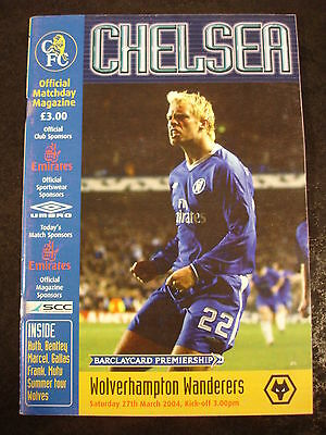 Football Programme Chelsea v Wolverhampton Wanderers Wolves March 2004